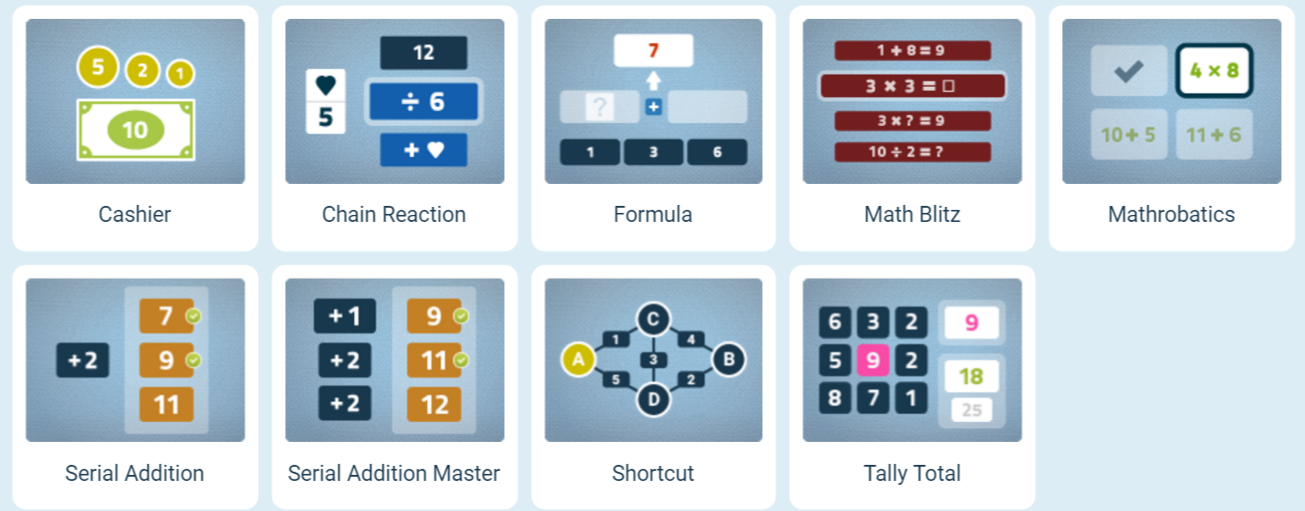 Numeracy Brain Games cathegory from NeuroNation